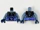 Part No: 973pb2909c01  Name: Torso Nexo Knights Bare Chest with Black Cracks, Dark Bluish Gray Scales, Dark Purple and Light Blue Belt Pattern / Sand Blue Arms / Dark Blue Hands
