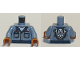 Part No: 973pb3830c01  Name: Torso Coveralls, Dirty Pockets, Face with Wrenches on Back Pattern / Sand Blue Arms / Dark Orange Hands