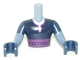 Part No: FTMpb011c01  Name: Torso Mini Doll Friends Dark Blue Top with Purple Sash Pattern, Dark Blue Arms and Hands with Sand Blue Forearms Pattern