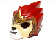 Part No: 11129pb04  Name: Minifigure, Headgear Mask Lion with Tan Face and Gold Crown Pattern