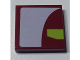 Part No: 3068bpb0900R  Name: Tile 2 x 2 with Groove with White And Lime Panels on Dark Red Background Pattern Model Right Side (Sticker) - Set 7751