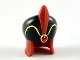 Part No: 41633pb01  Name: Minifigure, Headgear Large Hat, Black Dome, Dark Red Feather, Red Jewel, Gold Trim Pattern