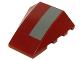 Part No: 47753pb040  Name: Wedge 4 x 4 No Top Studs with Dark Bluish Gray and Dark Red Stripe Pattern (Sticker) - Set 10195