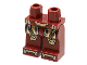 Part No: 970c00pb0236  Name: Hips and Legs with Iron Man Gold and Silver Knee Plates, Boots and Belt Pattern