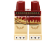 Part No: 970c02pb14  Name: Hips and Tan Legs with Dark Red Skirt with Gold Flames, Gold Belt and White Claws Pattern