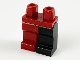 Part No: 970d04  Name: Minifigure, Legs with Hips - 1 Black Left Leg, 1 Dark Red Right Leg
