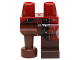Part No: 970d28pb01  Name: Hips and 1 Dark Red Left Leg  with Black Coat, Copper Buttons and Dark Brown Boot Pattern, 1 Reddish Brown Peg Leg