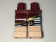 Part No: 970d36c01  Name: Minifigure, Legs with Hips - 1 White Left Leg, 1 Dark Red Right Leg with Gold Trimmed Skirt, Black Stripes on Left Leg, Light Nougat Feet Pattern