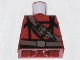 Part No: 973pb0594  Name: Torso Indiana Jones Dark Brown Belt and Sash with Ceremonial Knife Pattern