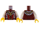 Part No: 973pb0697c01  Name: Torso Castle Kingdoms Lion Head Medallion and Fur Trim Pattern / White Arms / Yellow Hands