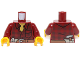 Part No: 973pb1256c01  Name: Torso Flannel Shirt with Pocket and Belt with Pliers and Hammer Pattern / Dark Red Arms / Yellow Hands