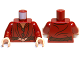 Part No: 973pb1278c01  Name: Torso LotR Elven Coat with Reddish Brown Leaf Buttons and Belt Pattern / Dark Red Arms / Light Flesh Hands