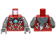 Part No: 973pb1351c01  Name: Torso Armor Vest with Silver Markings, Fur Animal Pelt and Dark Azure Round Jewel (Chi) Pattern / Dark Bluish Gray Arms / Dark Bluish Gray Hands