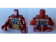 Part No: 973pb1380c01  Name: Torso Armor with Gold Plates and Blue Circle (Arc Reactor) Pattern / Dark Red Arms / Dark Red Hands