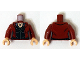 Part No: 973pb1943c01  Name: Torso Female Jacket over Black Top with Necklace Pattern (Scarlet Witch) / Dark Red Arms / Light Nougat Hands