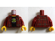 Part No: 973pb1946c01  Name: Torso Plaid Flannel Shirt with Buttons over Black T Shirt with Blacktron 2 Logo Pattern / Dark Red Arms / Yellow Hands