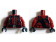 Part No: 973pb2057c01  Name: Torso Jacket with Black Straps, Brown Belt with Silver Buckle and Silver Zipper Pattern (Arsenal) / Dark Red Arms / Black Hands