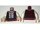 Part No: 973pb2467c01  Name: Torso Female Jacket / Vest Plaid over Striped Button Down Shirt Pattern / White Arms / Light Flesh Hands