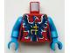 Part No: 973pb2551c01  Name: Torso Ninjago Female Dark Blue and Dark Azure Electric Phoenix and Yellow Asian Character Pattern / Dark Azure Arms / Dark Azure Hands