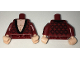 Part No: 973pb2559c01  Name: Torso Dressing Gown Robe Brocade with Black Collar over Light Flesh Bare Chest Pattern / Dark Red Arms with Black Brocade Pattern / Light Flesh Hands