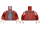 Part No: 973pb2681c01  Name: Torso Open Jacket over Light Bluish Gray Shirt and Belt with Silver Buckle Pattern / Dark Red Arms / Light Flesh Hands