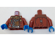 Part No: 973pb2682c01  Name: Torso Open Jacket with Badge over Reddish Brown Shirt and Harness Pattern / Dark Red Arms / Dark Azure Hands