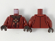 Part No: 973pb3291c01  Name: Torso Dark Brown Collar, Gold Cross with Red Center, Red and Gold Design Pattern / Dark Red Arms / Dark Brown Hands