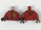 Part No: 973pb3313c01  Name: Torso Hooded Robe over Sweater, Bright Light Orange Collar, Gold Laces, Gryffindor Patch Pattern / Dark Red Arms / Dark Brown Hands