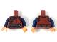 Part No: 973pb3338c01  Name: Torso Robe with Dark Brown Trim and Sash Pattern / Dark Blue Arms / Flesh Hands