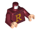 Part No: 973pb3666c01  Name: Torso Sweater with Letter 'R' Pattern / Dark Red Arms / Light Nougat Hands