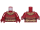 Part No: 973pb3685c01  Name: Torso SW Female Outline, Jumpsuit with Gold Belt and Neck Armor Pattern / Dark Red Arms / Dark Red Hands