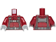 Part No: 973pb3749c01  Name: Torso SW T-16 Skyhopper Pilot Flight Suit, Dark Bluish Gray Harness with Reddish Brown Stripes Pattern / Dark Red Arms / Light Bluish Gray Hands