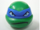 Part No: 12607pb02  Name: Minifigure, Head Modified Ninja Turtle with Blue Mask and Frown Pattern (Leonardo)