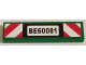 Part No: 2431pb373  Name: Tile 1 x 4 with 'BE60081' and Red and White Danger Stripes Pattern (Sticker) - Set 60081
