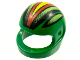 Part No: 2446pb09  Name: Minifigure, Headgear Helmet Motorcycle (Standard) with Racing Stripes, Black/Lime/Red/Yellow Pattern