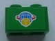 Part No: 3004pb087  Name: Brick 1 x 2 with Box and Arrows and Globe on Green Background Pattern (Sticker) - Set 7733