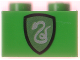 Part No: 3004px10  Name: Brick 1 x 2 with HP Slytherin Shield Pattern