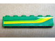 Part No: 3009pb187L  Name: Brick 1 x 6 with Lime Green and Yellow Stripes Pattern Model Left (Sticker) - Set 4589
