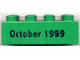 Part No: 3011pb009  Name: Duplo, Brick 2 x 4 with October 1999 Pattern