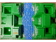 Part No: 30271px1  Name: Baseplate, Raised 32 x 48 x 6 with 4 Corner Pits and River Pattern