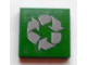 Part No: 3068bpb0364  Name: Tile 2 x 2 with Groove with Gray Recycling Arrows Pattern (Sticker) - Set 8404