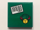Part No: 3068bpb1007  Name: Tile 2 x 2 with Groove with Barcode and Box and Arrows and Globe on Green Background Pattern (Sticker) - Set 60101