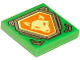 Part No: 3068bpb1063  Name: Tile 2 x 2 with Groove with Bright Light Yellow Fox Head on Orange Hexagonal Shield with Silver Border Pattern