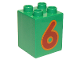 Part No: 31110pb078  Name: Duplo, Brick 2 x 2 x 2 with Number 6 Red Pattern