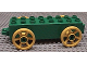 Part No: 31174c02  Name: Duplo Car Base 2 x 8 x 1 1/2 with Large Yellow Spoked Wheels