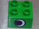 Part No: 3437pb015  Name: Duplo, Brick 2 x 2 with Eye without White Spot Pattern, on One Side