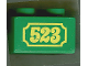 Part No: 3437pb021  Name: Duplo, Brick 2 x 2 with Yellow '523' Antique Style Pattern