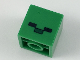 Part No: 35530pb01  Name: Minifigure, Head Modified Small Cube with 2 Black Rectangles and 1 Dark Green Rectangle Pattern (Minecraft Baby Zombie Head)