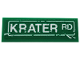 Part No: 63864pb085  Name: Tile 1 x 3 with White Scratched Road Sign and 'KRATER RD' Pattern (Sticker) - Set 76128