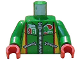 Part No: 973pb0196c01  Name: Torso Octan Logo Zippered Jacket with Team 96 Text Pattern / Green Arms / Red Hands